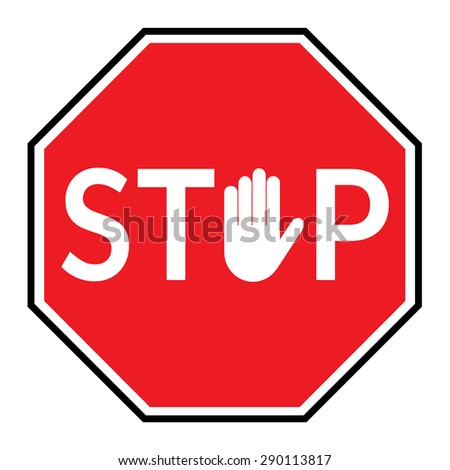Stop sign hand stock illustration 116071705 shutterstock for Signs you can change letters