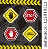 stop signs with hands over grunge background. vector illustration - stock vector
