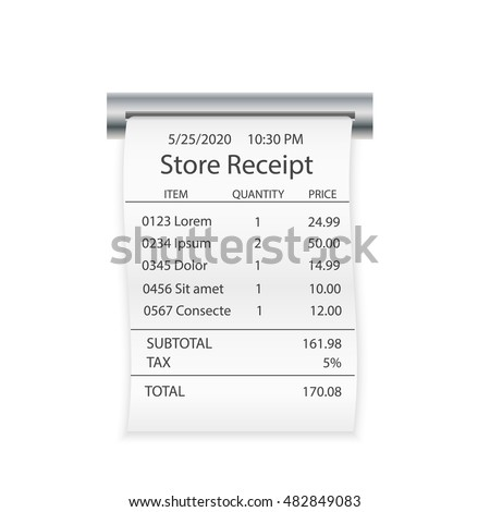 sales printed receipt shopping paper bill stock vector 450555622 shutterstock. Black Bedroom Furniture Sets. Home Design Ideas