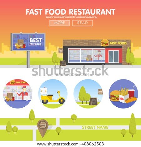 Storefront restaurant selling fast food. The template for the site, banners and advertising. Concept cartoon vector illustration