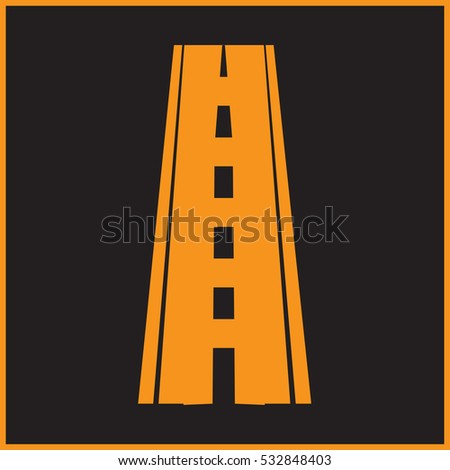 Straight road with markings. Vector illustration