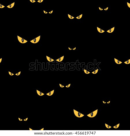 Strange scary eyes in the dark halloween seamless vector pattern