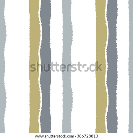 Striped seamless pattern. Vertical wide lines with torn paper effect. Shred edge band background. Gray, ocher, gold, olive, white soft colors. Vector