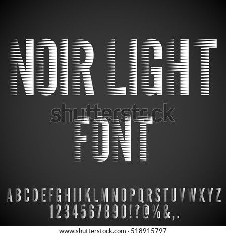 Stripped Nervous Light Retro Noir Movie Font. Vector letters set