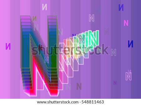 stroke around creative effect, popular Alphabet N vector background between template