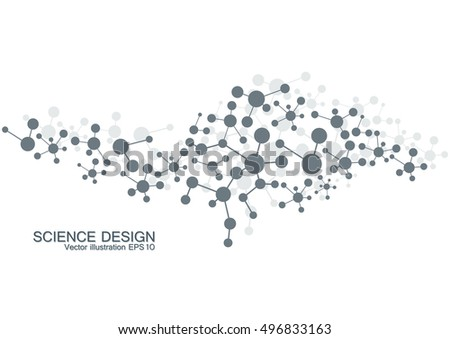 Structure molecule of DNA and neurons. Genetic and chemical compounds. Medicine, science and technology concept. Geometric abstract background. Vector illustration for your design.