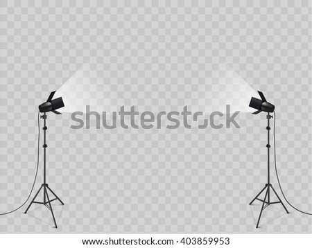 studio with lighting equipment and backdrop vector