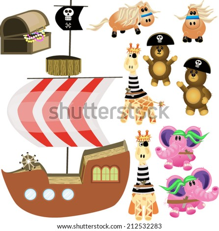 Stuffed Animal Pirates/Bean Bag Pirates!/Create your own pirate scene. Each piece is on a separate layer