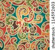 Stylish Abstract Seamless Hand-Drawn Paisley Pattern With Shadows - stock photo