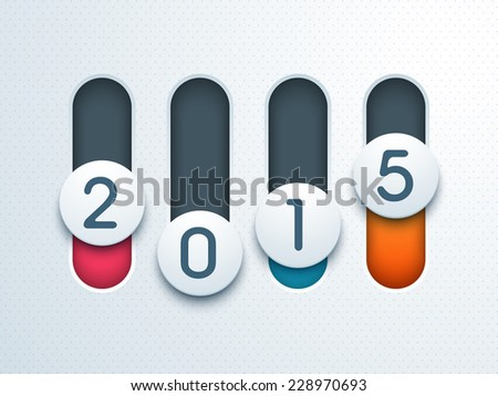 Stylish numeral text 2015 on toggle button for Happy New Year 2015 celebrations, can be use as poster, banner or flyer.
