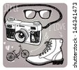 stylish sunglasses, boots, camera and bike - stock vector