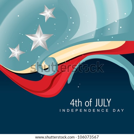 stylish wave 4th of july vector