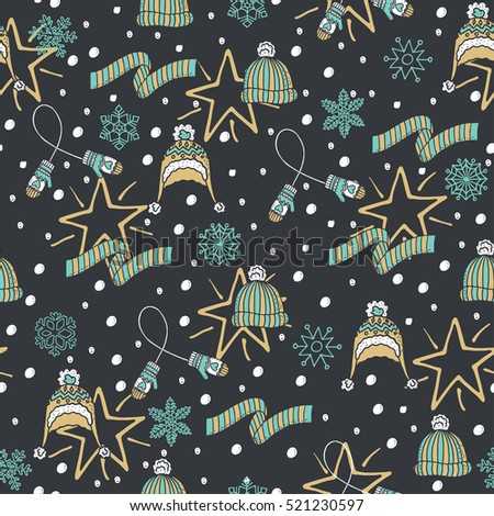Stylish Winter seamless pattern with hats, gloves and scarfs. Seamless pattern can be used for wrapping paper, pattern fill, web page background.