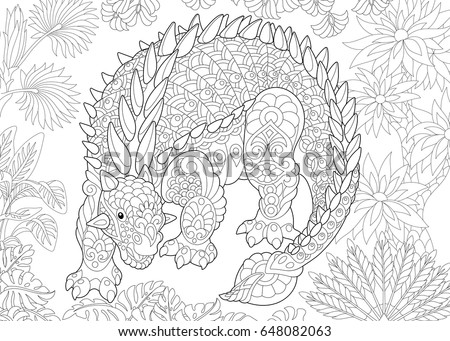 Stylized Ankylosaurus Dinosaur Of The Cretaceous Period Freehand Sketch For Adult Antistress Coloring Book Page