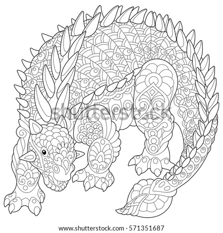Coloring Books For Adults Dinosaurs : Stylized ankylosaurus dinosaur cretaceous period freehand stock