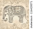 Stylized fantasy patterned elephant. Hand drawn vector illustration. Can be used separately from backdrop - stock vector