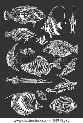 Vector Seamless Fish Pattern Oriental Ornament Stock Vector 483394522