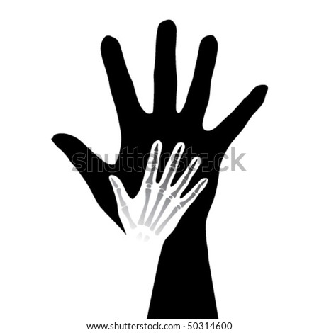 Stylized hands anatomy. Black and white illustration