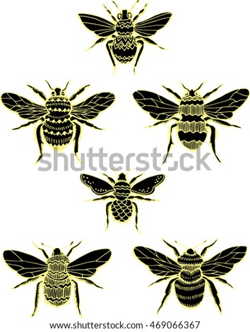 Stylized insects. Collection of flies. Line art. Black and white drawing by hand. Seth ornamental insects. Wasp. Bumblebee. Hornet. Doodle. Tattoo.