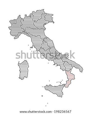 Stylized map of Italy with marked region Calabria (vector)