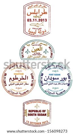 Stylized passport stamps of Libya, Western Sahara, Sudan and South Sudan in vector format.