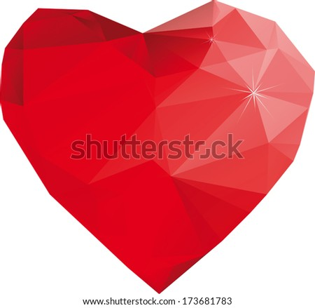 Stylized polygonal red vector heart