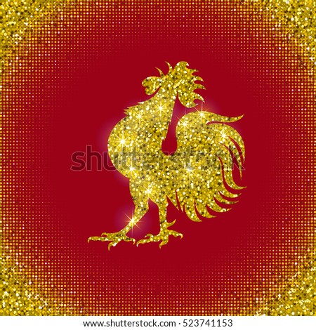 Stylized rooster on red background. Chinese calendar for the year of the rooster 2017. Happy New Year! Golden texture. Background of confetti sparkles gold glitter. Vector design.