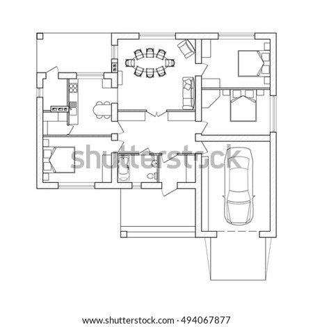 Black White Architectural Plan Double Decker Stock Vector