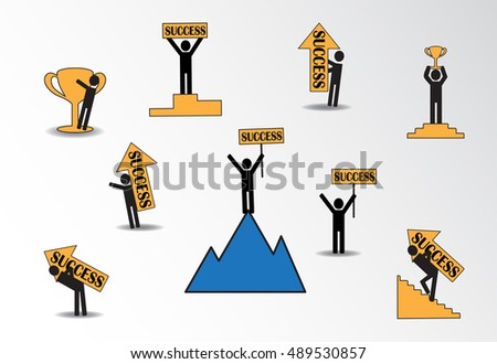 Success icons, vector illustration