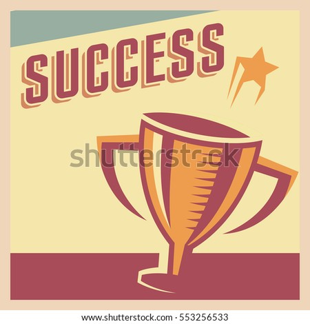 Success poster motivation in retro style