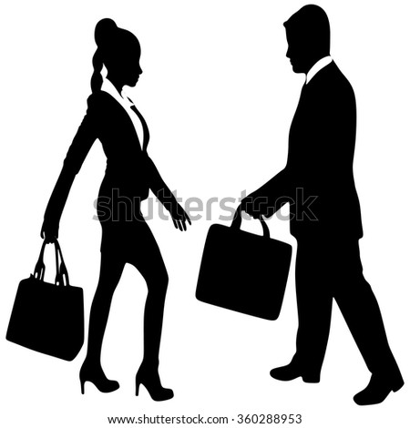successful businessman and business woman walking