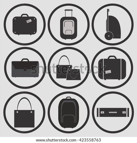 Suitcases Icons and Vector. Travel , Vacation, Road trip, Tourism.