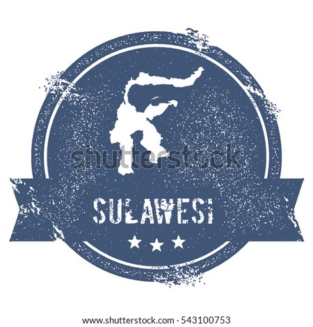 Sulawesi logo sign. Travel rubber stamp with the name and map of island, vector illustration. Can be used as insignia, logotype, label, sticker or badge.
