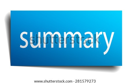 summary blue paper sign on white background