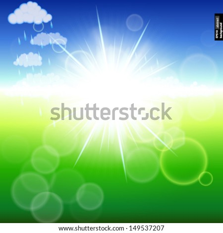 Summer abstract background with sunbeams. Vector illustration.