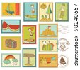 Summer and Sea elements - Vector stamp collection - stock photo