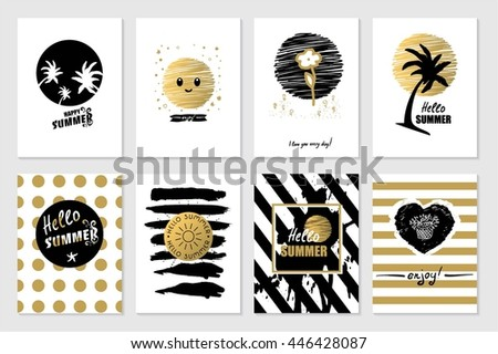 Summer background calligraphy card set. Trendy style with hand-lettering Hello Summer words. Black, white, gold colored cards with palm leaves and sun. Banner template for flat design. Vector