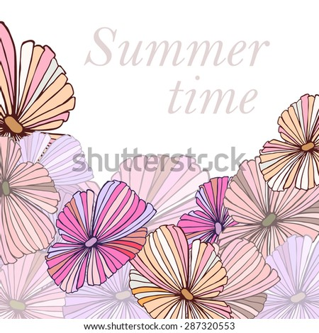 Summer background with hand drawn colorful tropical flowers frame for card design. Vector illustration eps8