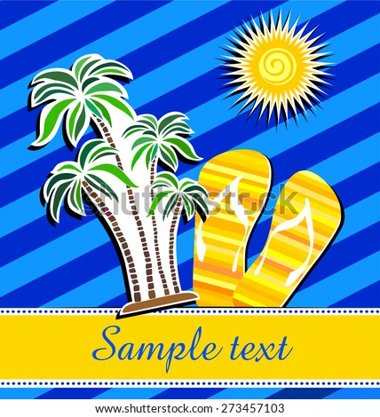 Summer background with palm trees, sun and place for your text. Vector Illustration