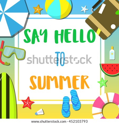 Summer beach and holiday icon set flat item background vector illustration