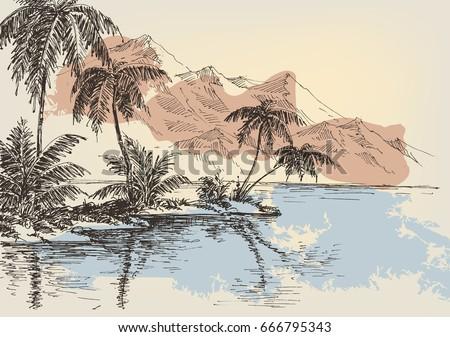Tropical Island Vector Sketch Stock Vector 88696438 ...
