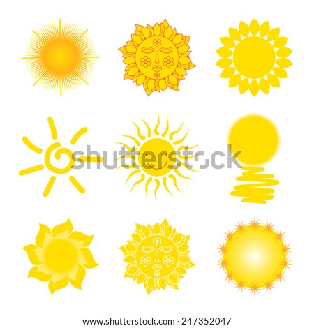 Summer collection of different icons abstract sun.Set for design.