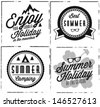 Summer Holiday Calligraphic Design Set in Retro Style - stock