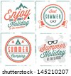 Summer Holiday Calligraphic Design Set in Vintage Style - stock