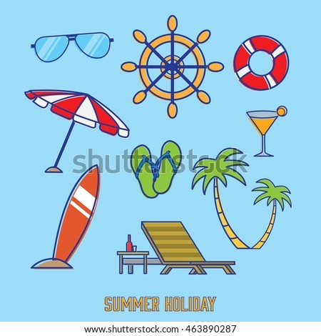 Summer icon doodle with blue background. Vector illustration