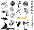 Summer icons set isolated on white background. Collection of design elements. Vector Illustration - stock vector