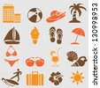 Summer icons set.Vector - stock photo