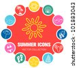 Summer icons, vector illustration - stock
