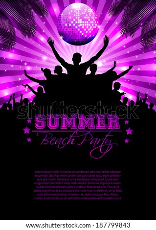 Summer Music Background with Instruments - Vector with place for your text