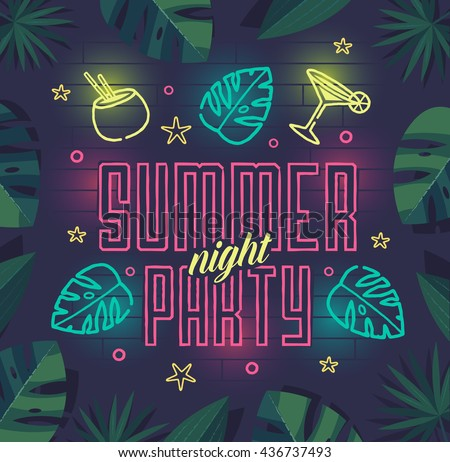 Summer night party. Summer beach party poster with lettering typography, neon elements and tropical leaves frame on dark background. Summer vacation, summer party template. Vector illustration.